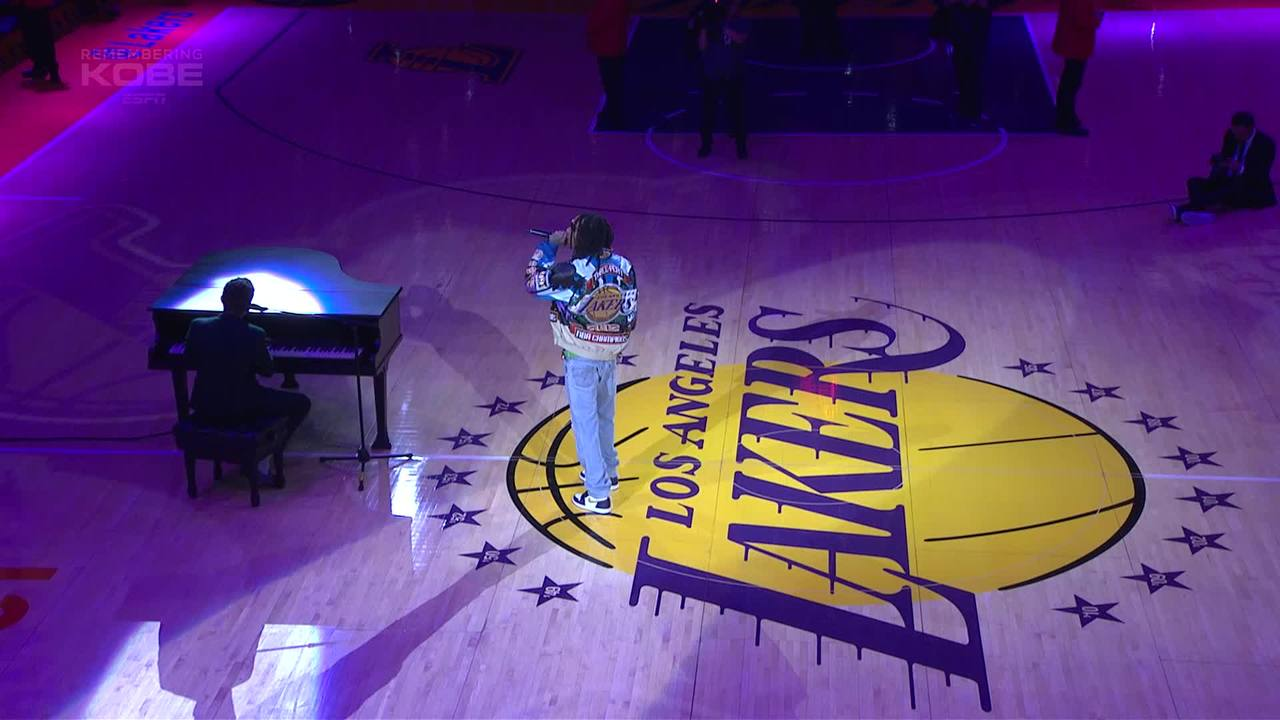 Wiz Khalifa and Charlie Puth perform halftime tribute for Kobe