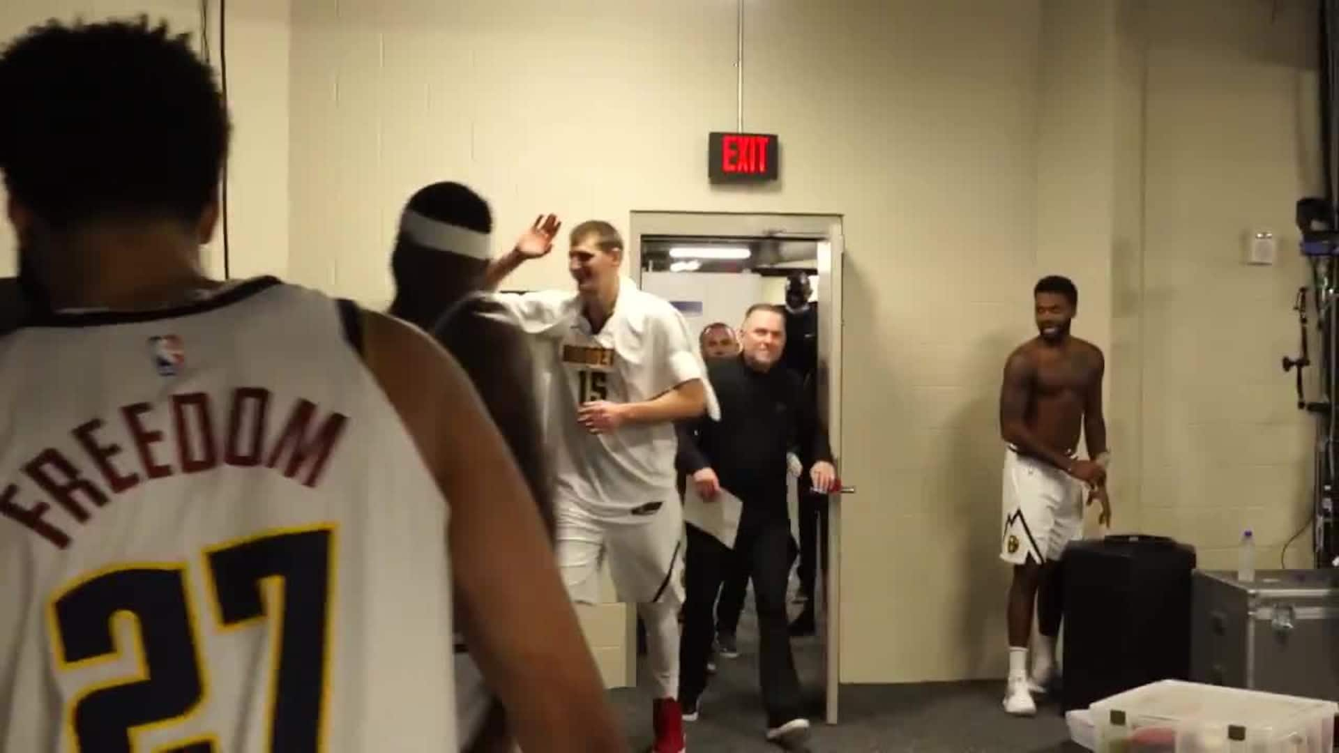 Nuggets Celebrate In The Locker Room Nba Com