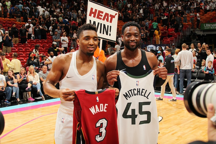 new style 6af7a da976 Donovan Mitchell and Dwyane Wade trade shots, jerseys in ...