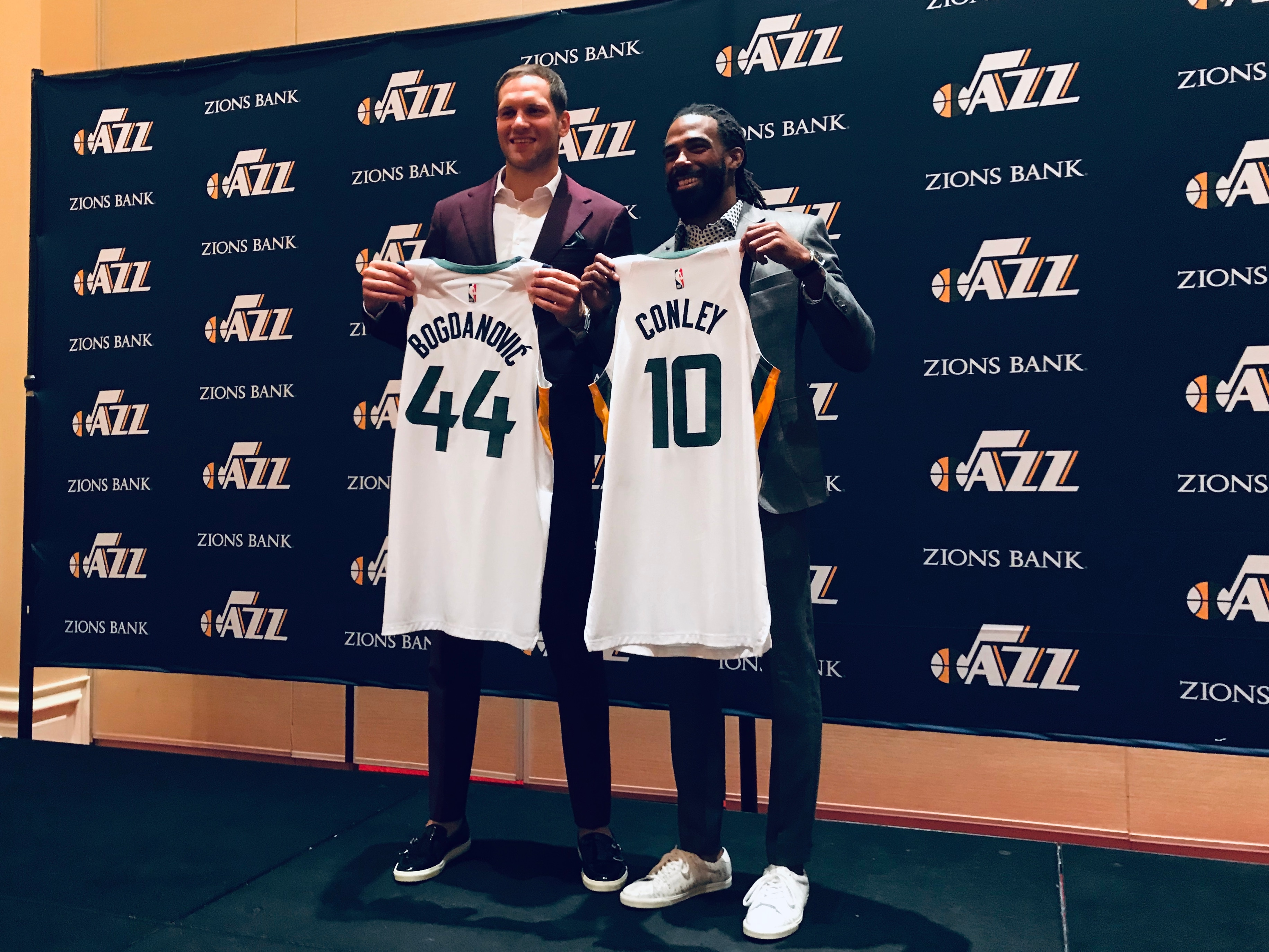 new styles 4e102 3d7c5 Utah Jazz introduce Conley and Bogdanovic, and embrace the ...