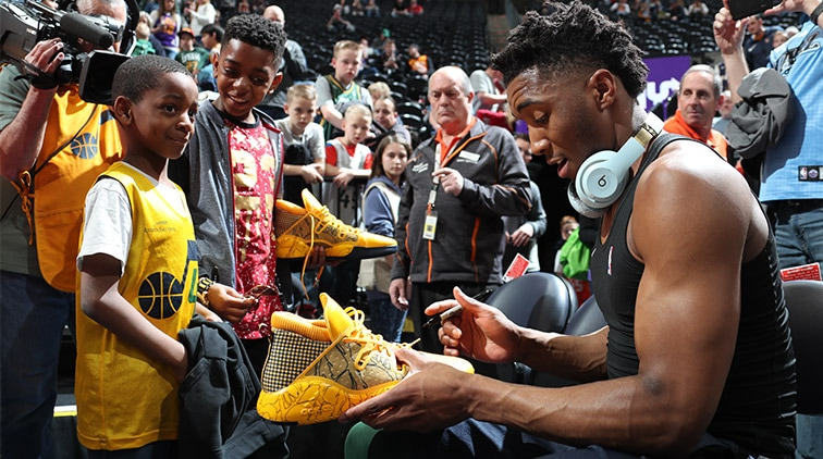 The faces and stories behind Donovan Mitchell's pregame sneaker giveaway