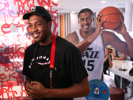 Derrick Favors Takes a Shift at McDonald's