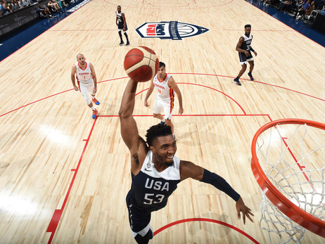 Donovan Mitchell leads Team USA with 13 points in a 90-81 win over Spain