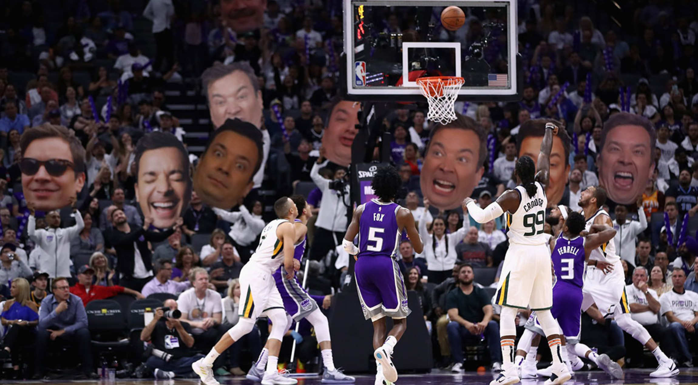 693ec7d72990 Jimmy Fallon is Loving the Kings Free Throw Distraction
