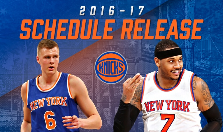 2016 17 New York Knicks Schedule Announced New York Knicks