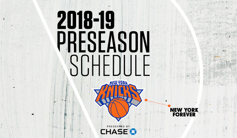 2018-19 KNICKS PRESEASON SCHEDULE ANNOUNCED