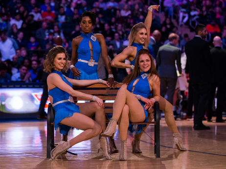 Knicks City Dancers perform on April 7 vs Bucks
