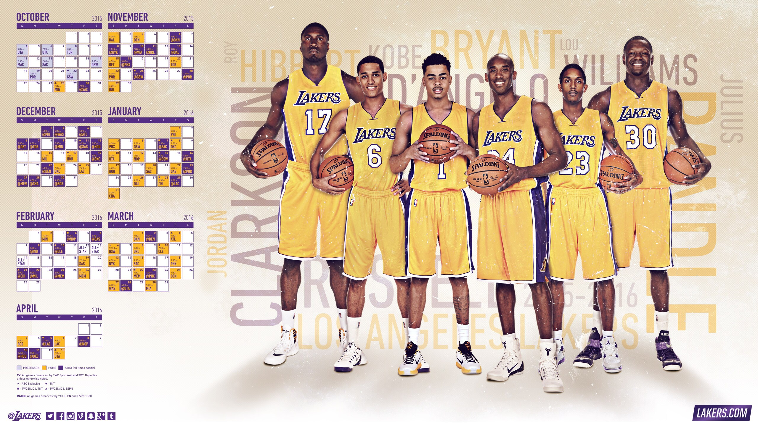 Lakers 2015-16 Schedule
