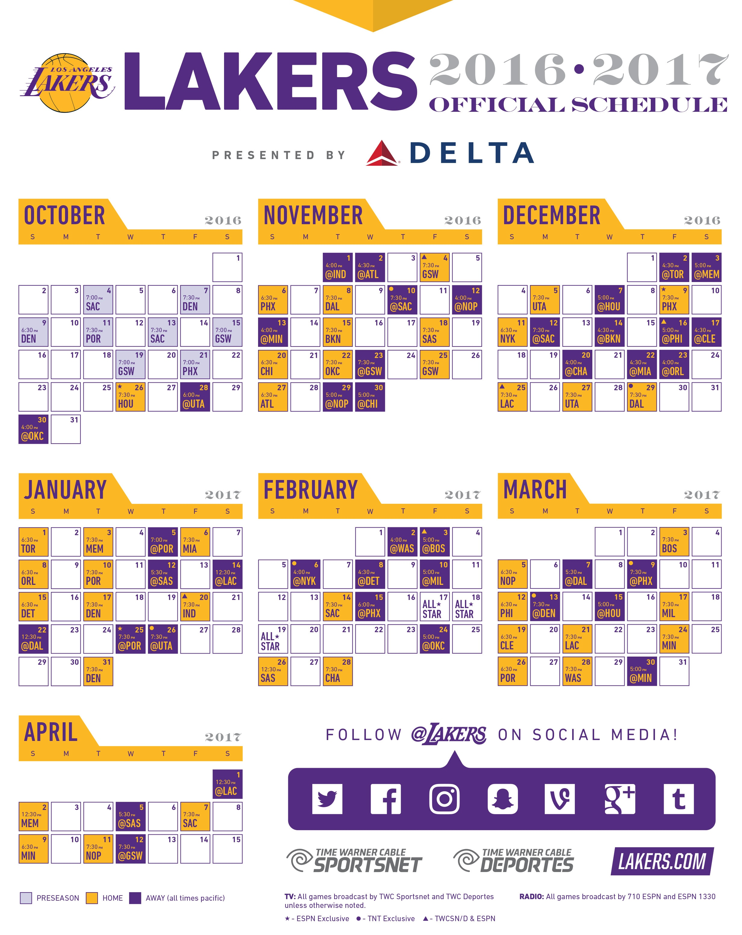 graphic regarding Lakers Printable Schedule titled 2016-17 Lakers Printable Program Los Angeles Lakers