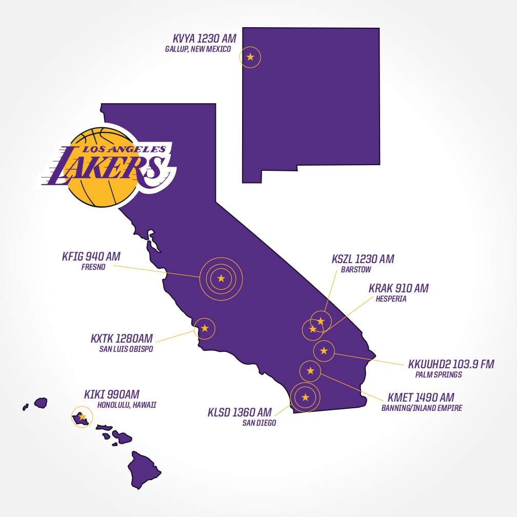 Where To Watch And Listen Los Angeles Lakers - Los angeles to utah map
