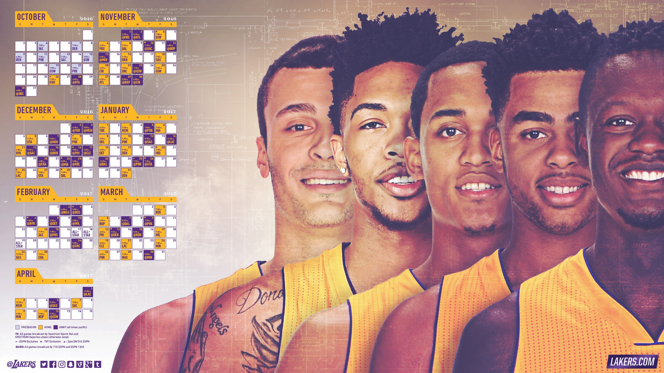 Lakers 2016-17 Schedule