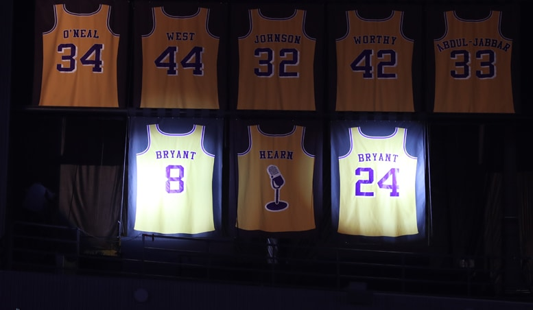 Lakers Retire Kobe Bryant S Jersey Numbers Los Angeles