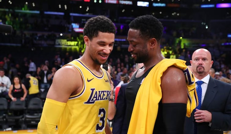 new arrivals ba513 ad04e Lakers, Dwyane Wade Salute Each Other After Final Matchup ...