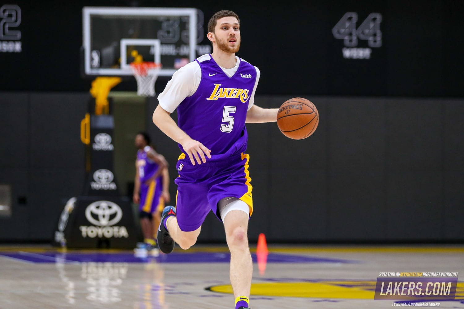 e62b898c4f1 Kansas guard Sviatoslav Mykhailiuk works out for the Los Angeles Lakers at  the UCLA Health Training