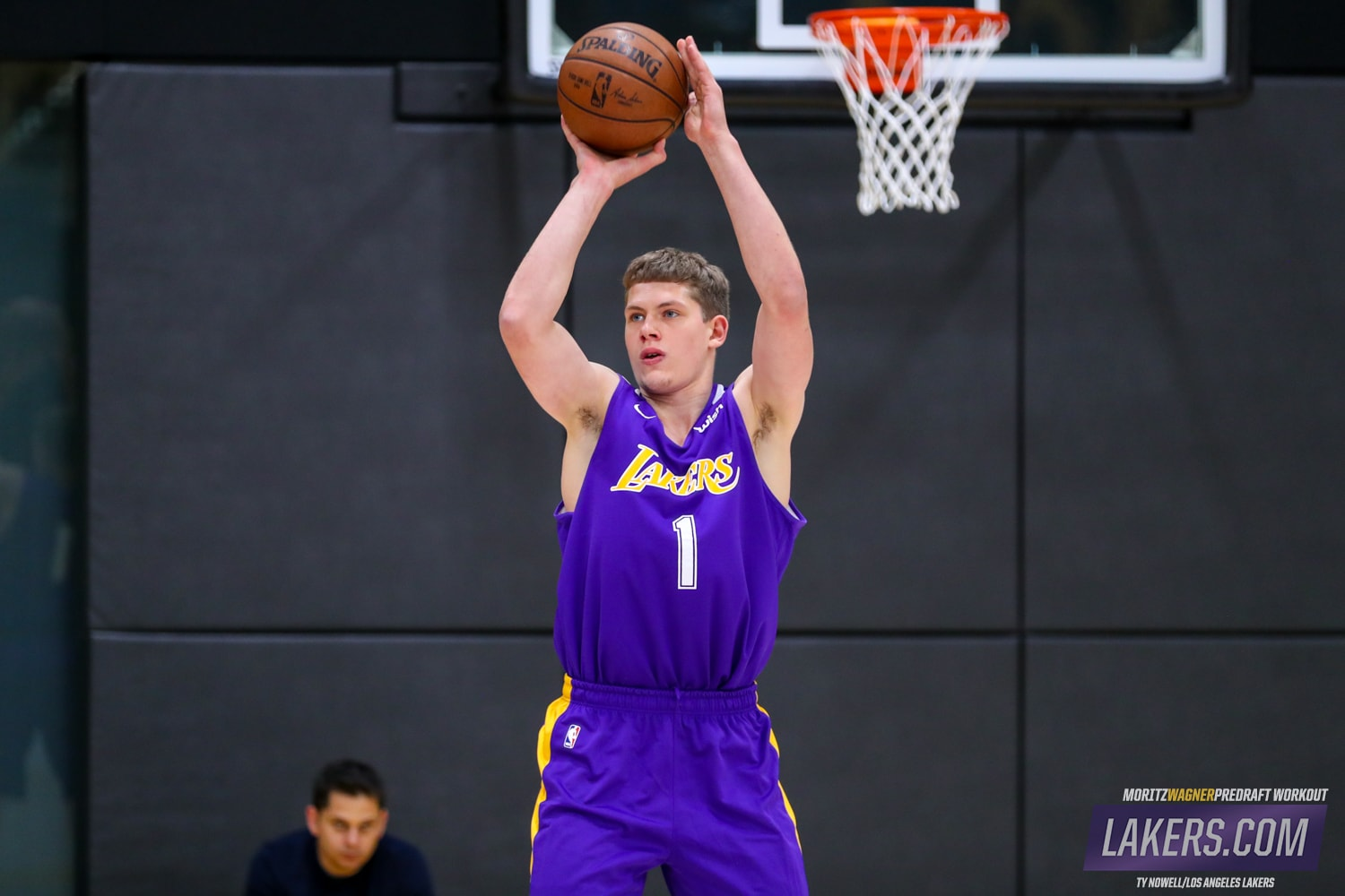 655093a3081 Michigan forward Moritz Wagner works out for the Los Angeles Lakers at the  UCLA Health Training