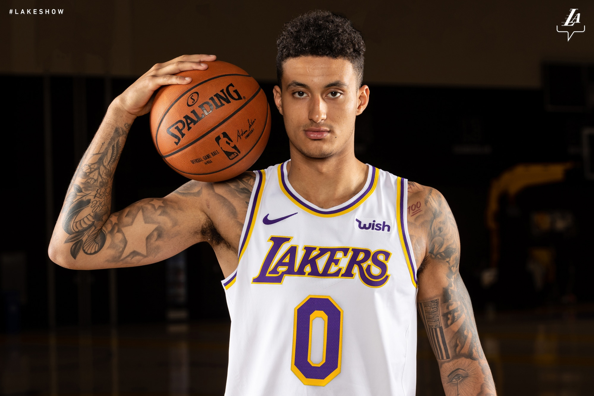 Kyle Kuzma wears the Lakers 2018-19 Association jersey(Ty Nowell Los Angeles c6996bfd4