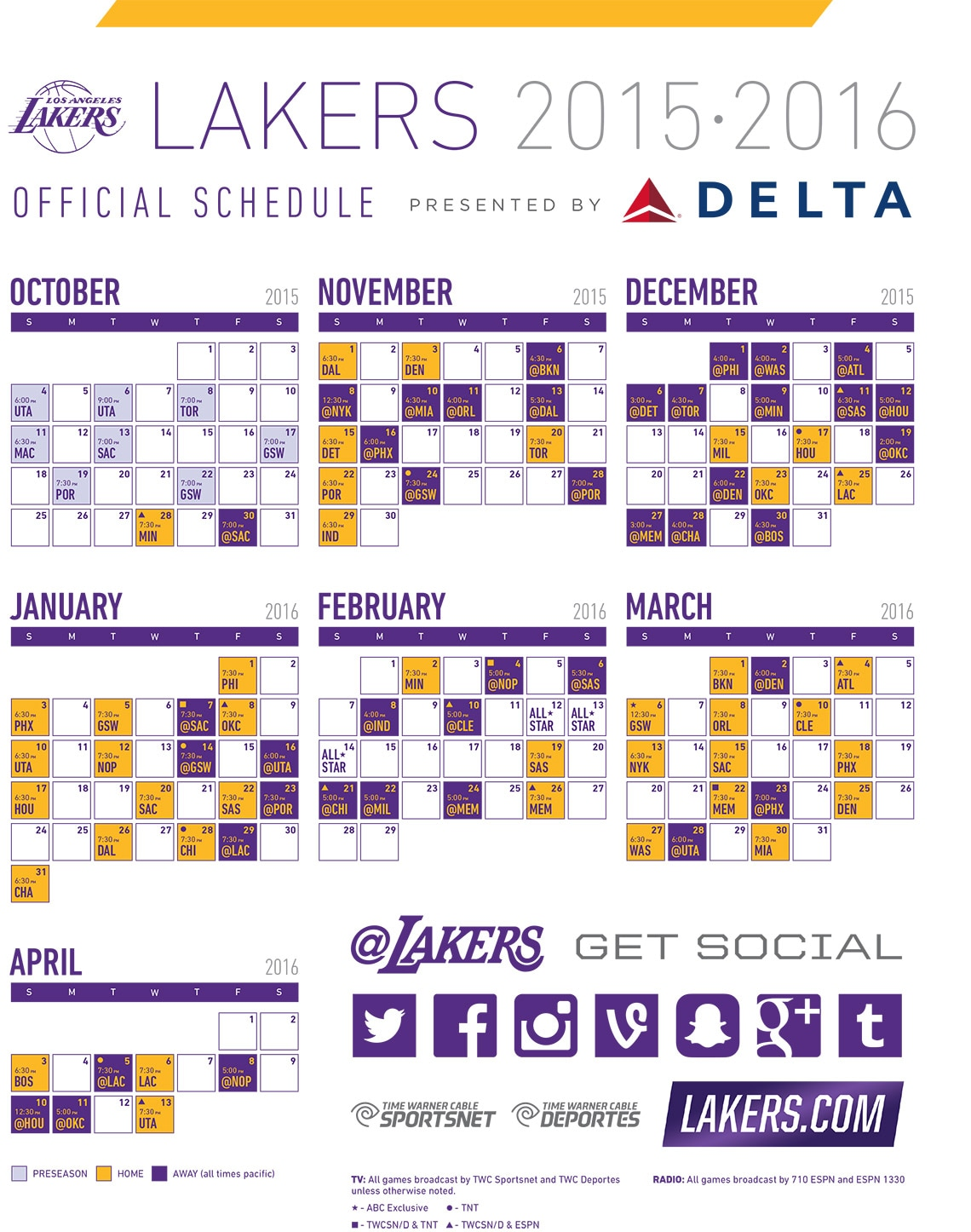 2015-16 Lakers Printable Schedule | Los Angeles Lakers