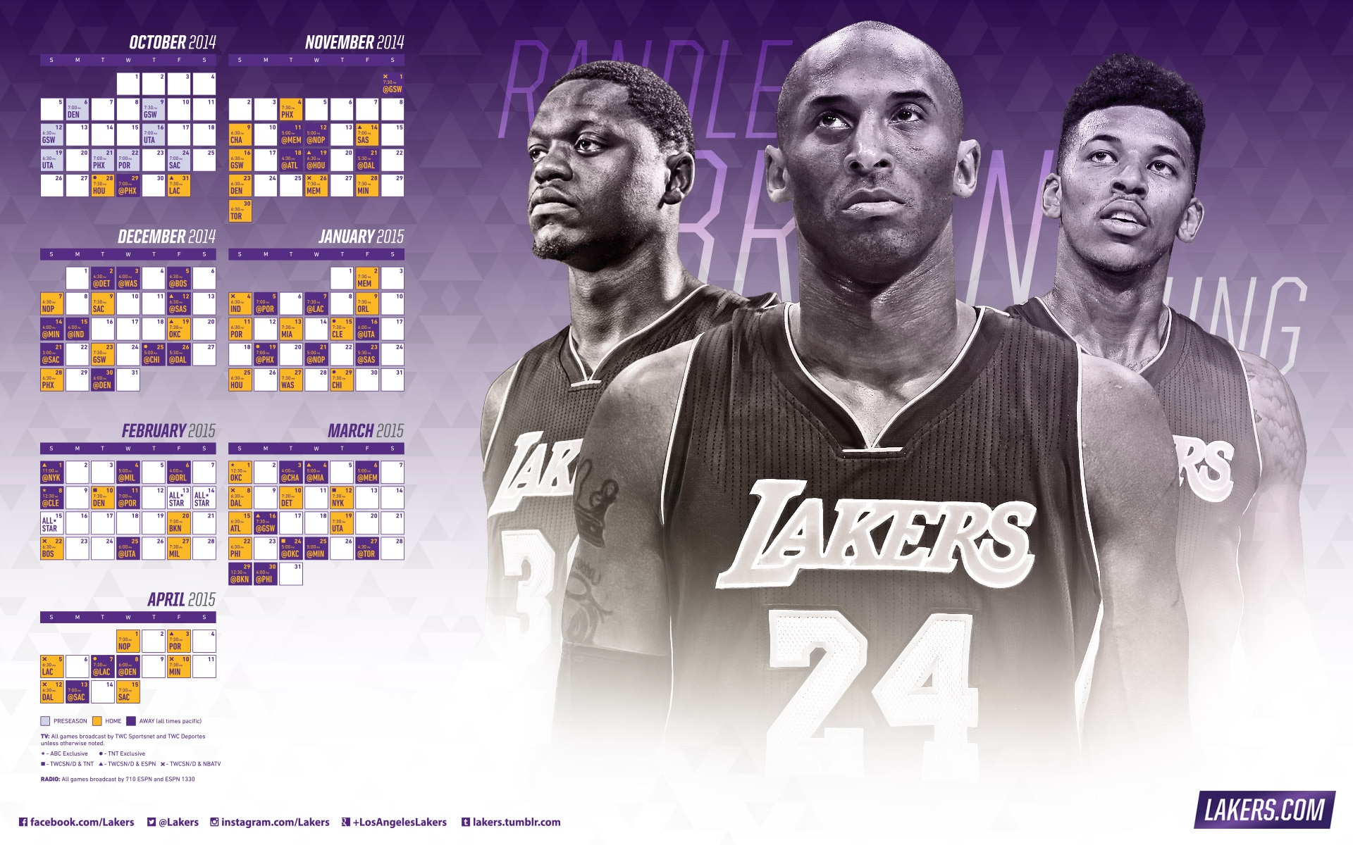 Lakers 2014-2015 Season Schedule Wallpapers