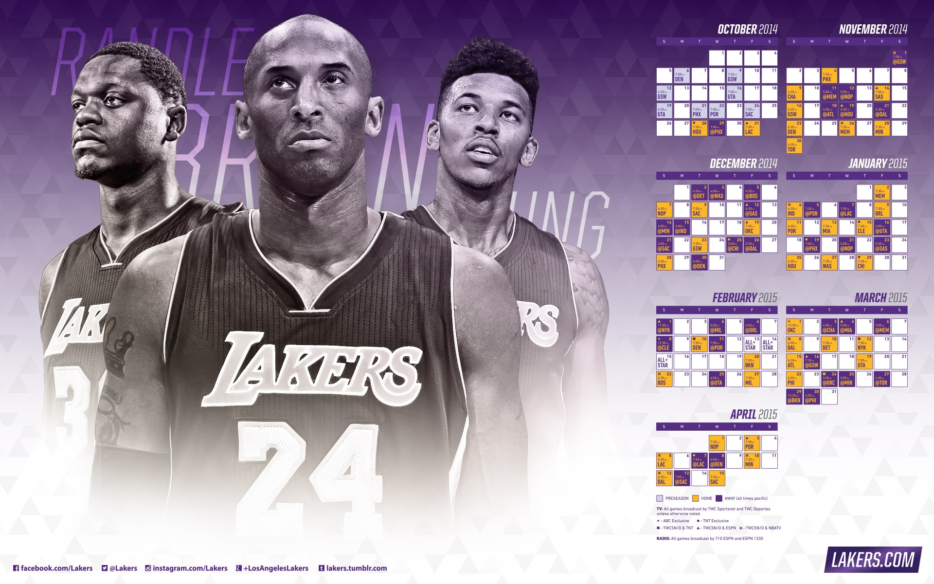 2014-15 Season Wallpaper Schedule