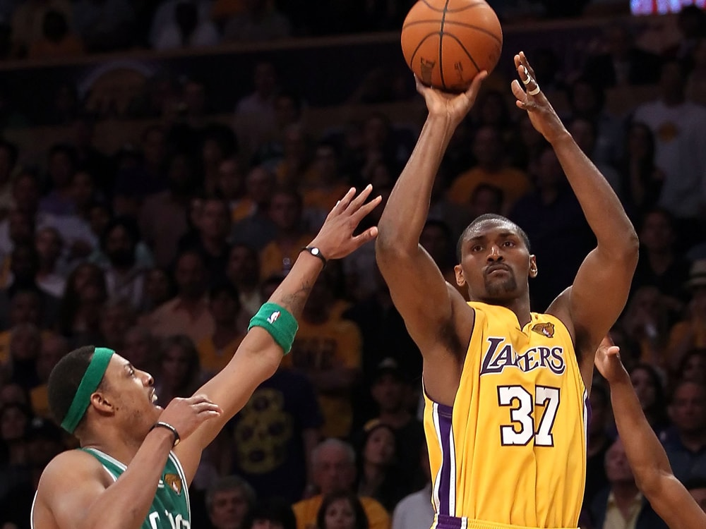 Artest hits a three-pointer in Game 7 of the 2010 Finals over Paul Pierce.