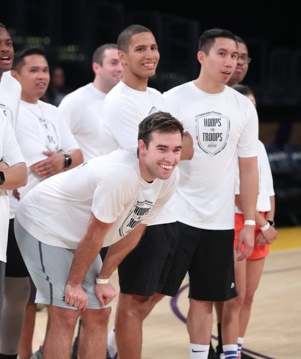Active Military Members Experience the Lakers Through Hoops for Troops Program