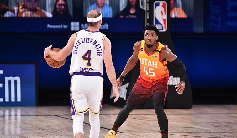 Alex Caruso and Donovan Mitchell