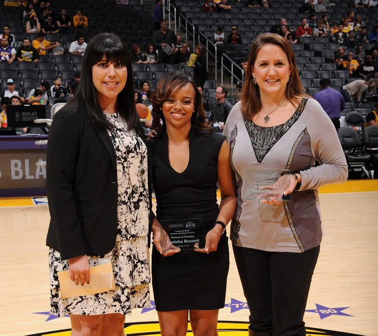 Jacqueline Vega (Comerica Representative), Kanisha Bennett and Kathy Willard accepting the Comerica Women's Business Award for January.