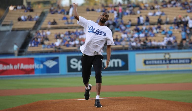 Brewer Tosses First Pitch on Lakers Night at Dodger Stadium