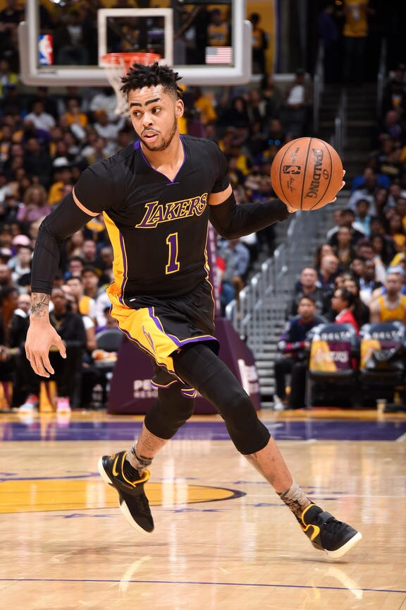 LOS ANGELES, CA - MARCH 24: D'Angelo Russell #1 of the