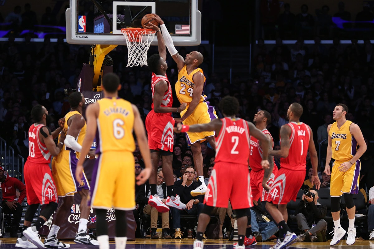 Kobe turns back the clock as he rises for the posterizing dunk over Houston center Clint Capela