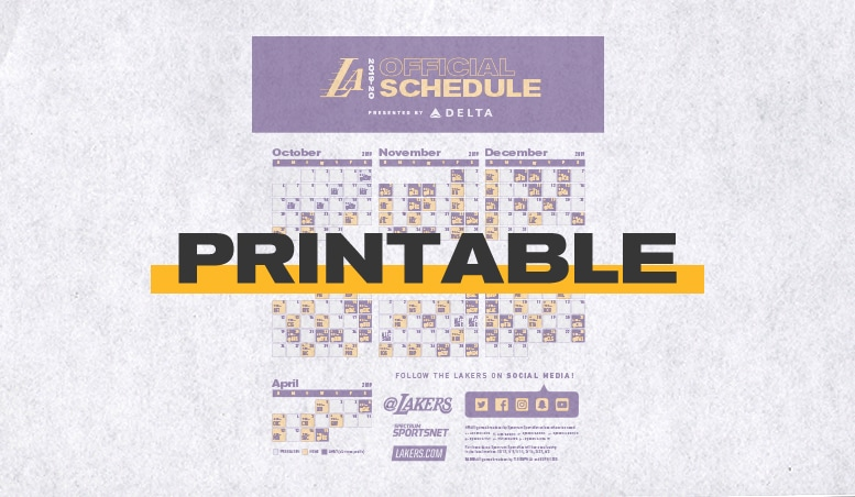 image relating to Dodgers Printable Schedule known as Los Angeles Lakers The Formal Website of the Los Angeles Lakers