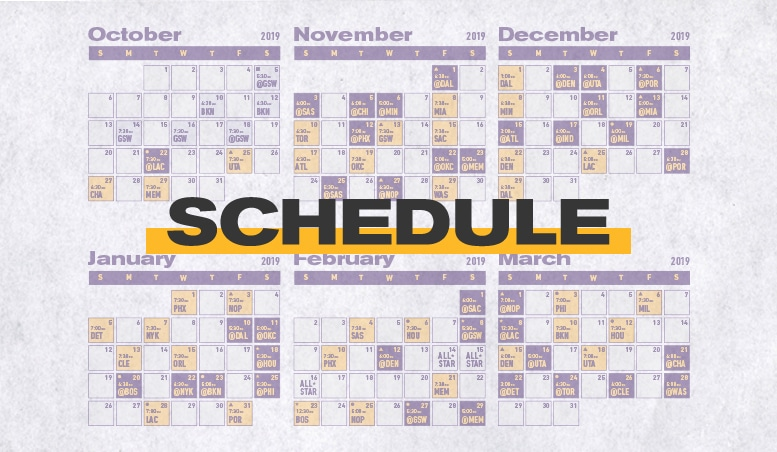 picture regarding Miami Heat Printable Schedule titled Los Angeles Lakers Timetable