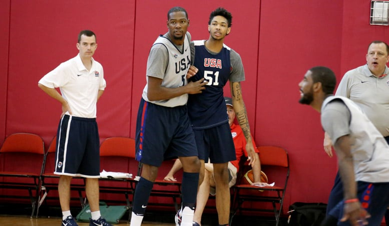 Brandon Ingram and Kevin Durant battle during a practice at a USA Basketball summer camp.