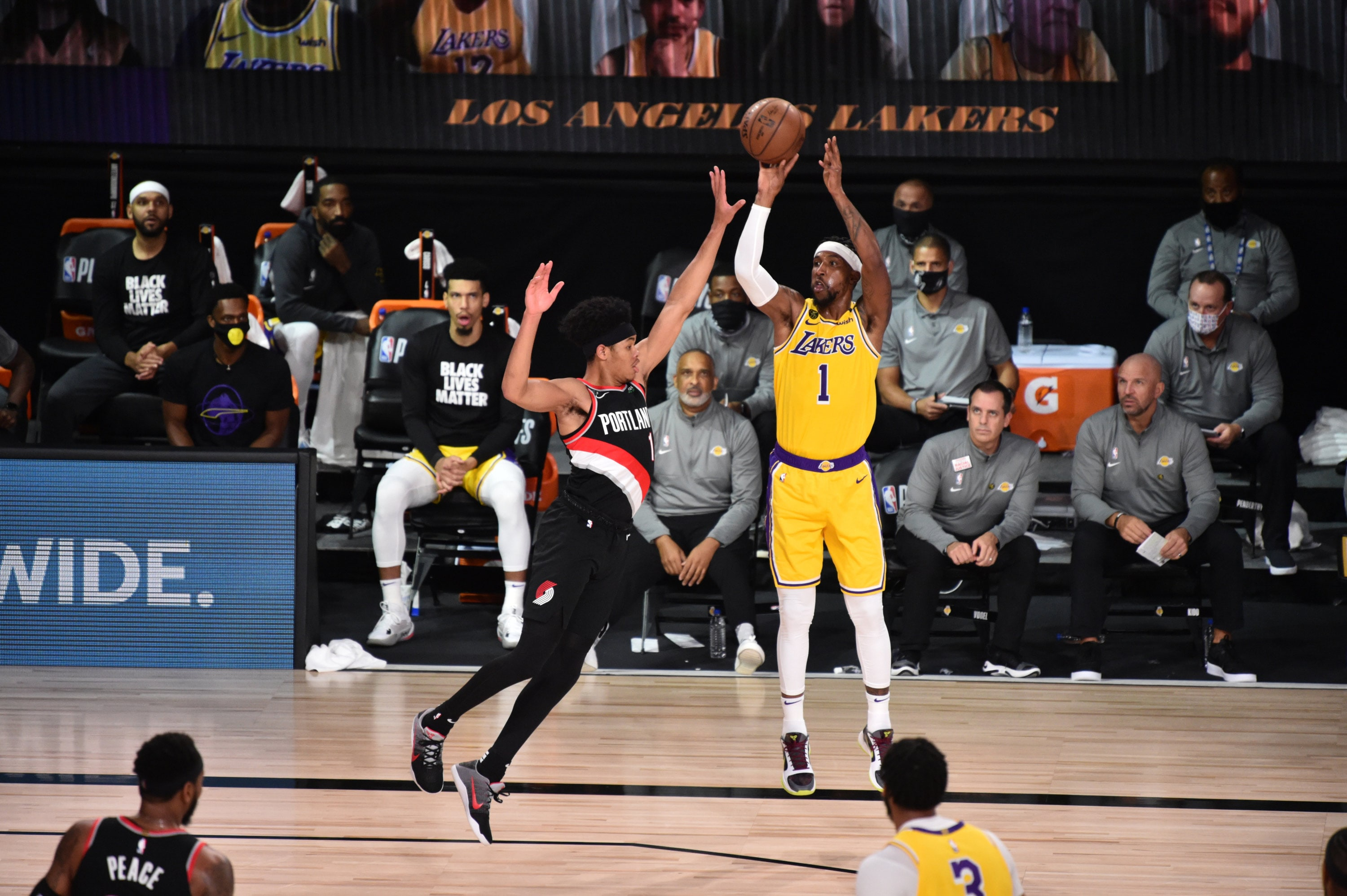 Kentavious Caldwell-Pope #1 of the Los Angeles Lakers shoots against the Portland Trail Blazers for Game five of the first round of the 2020 Playoffs as part of the NBA Restart 2020 on August 29, 2020 (David Dow)