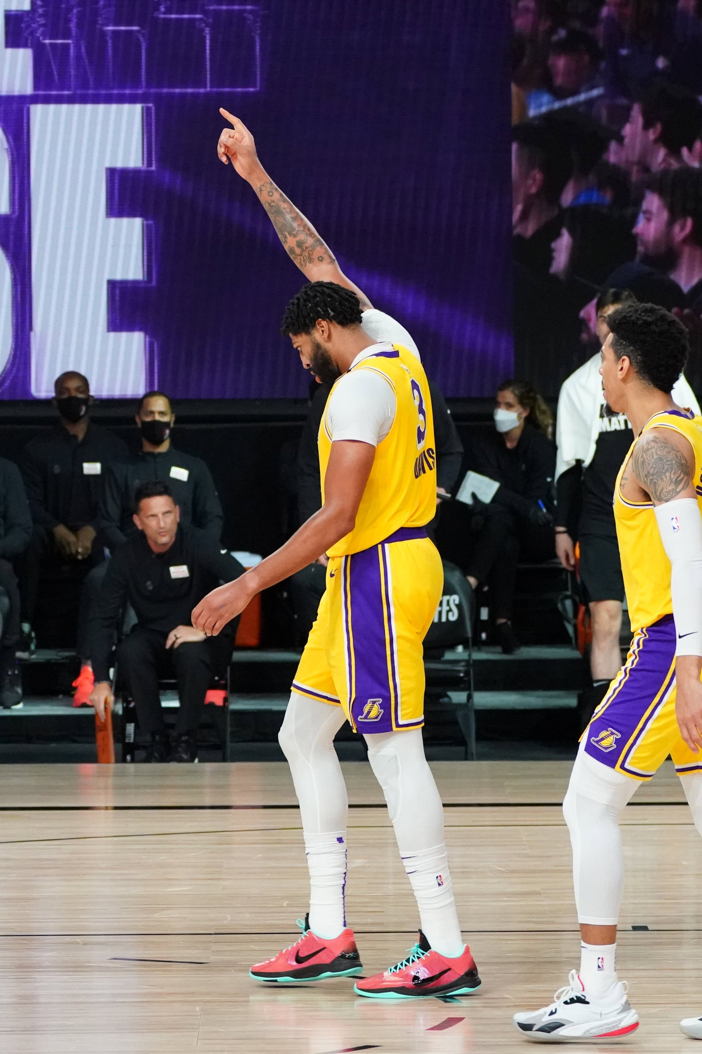 Anthony Davis #3 of the Los Angeles Lakers reacts during a game against the Portland Trail Blazers during Round One, Game Five of the NBA Playoffs on August 29, 2020 (Jesse D. Garrabrant)