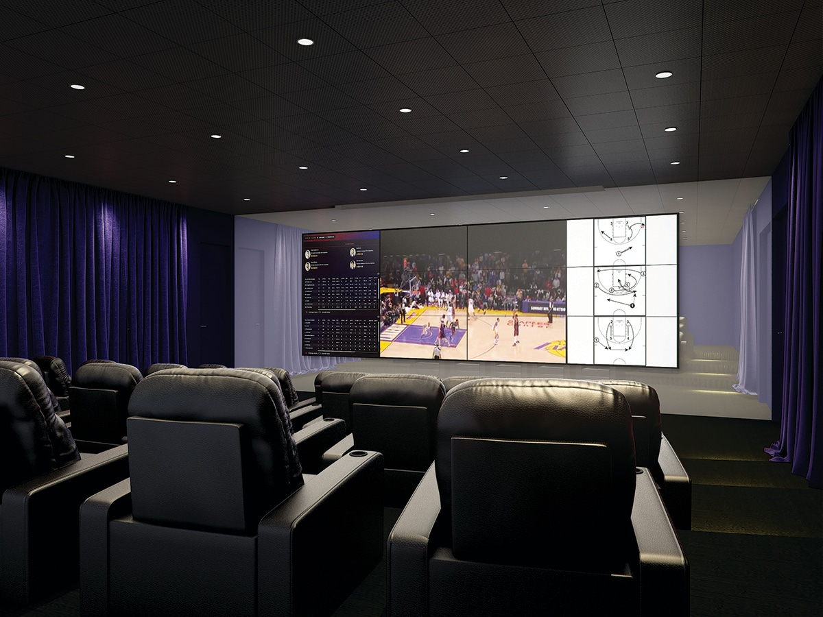 Theater/video room in the UCLA Health Training Center