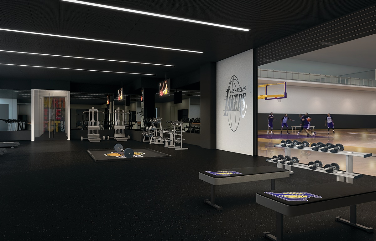 Weight and conditioning room in the UCLA Health Training Center