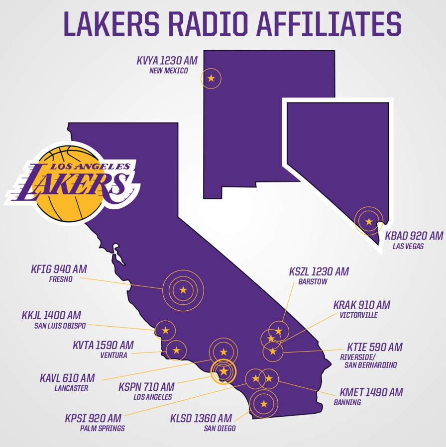 Lakers Radio Affiliate Map