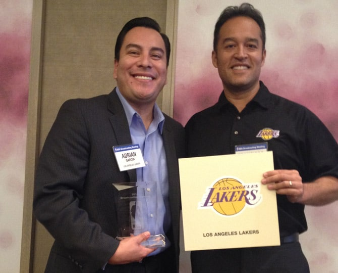 Lakers Spanish TV broadcasters Adrian Garcia-Marquez and Francisco Pinto