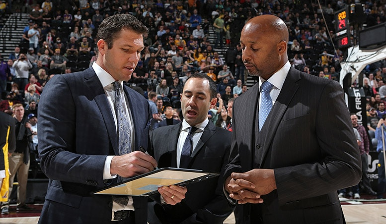 Jesse with Luke Walton and Assistant Coach Brian Shaw