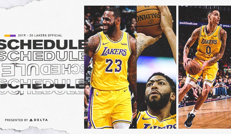 image regarding Lakers Printable Schedule referred to as Lakers Announce 2019-20 Month to month Year Agenda Furnished via