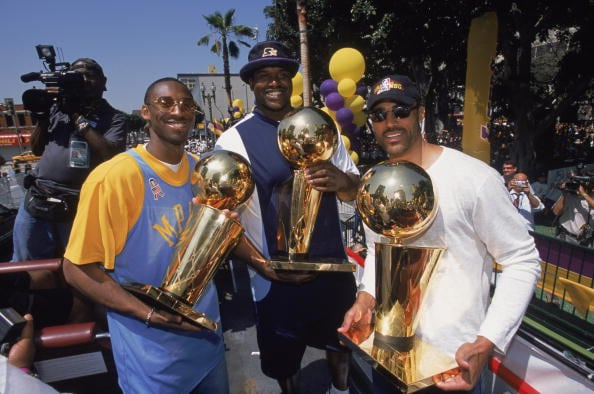 Kobe Bryant, Shaquille O'Neal and Rick Fox