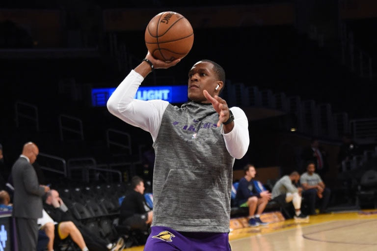 Rajon Rondo warming up before facing the Timberwolves