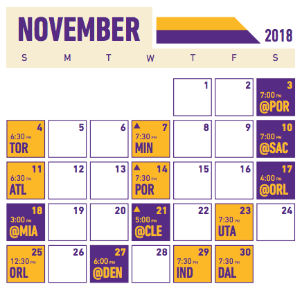 graphic about Lakers Printable Schedule called 2018-19 Lakers Plan Breakdown: November Los Angeles Lakers