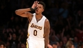 Nick Young celebrates one of his five 3-pointers against the Toronto Raptors.