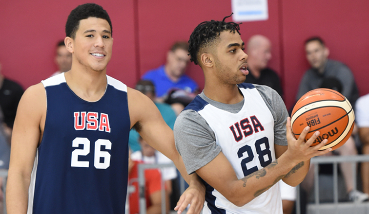 Devin Booker and D'Angelo Russell