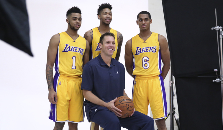 ... and Luke Walton pose for photos at Lakers Media Day on Sept. 26, 2016