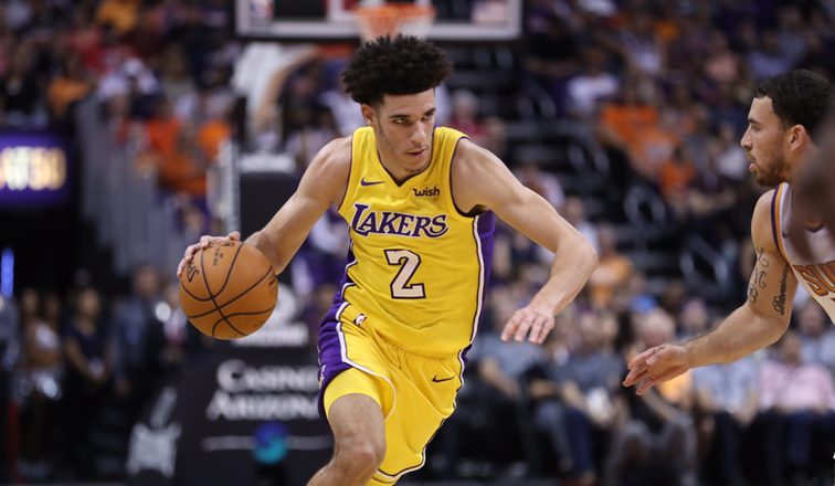 Lonzo Ball Dribbling >> Lonzo Lights Up Suns In Season S First Win Los Angeles Lakers