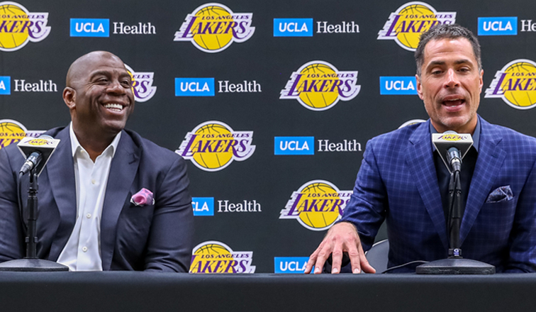 Image result for images of magic Johnson and Rob Pelinka