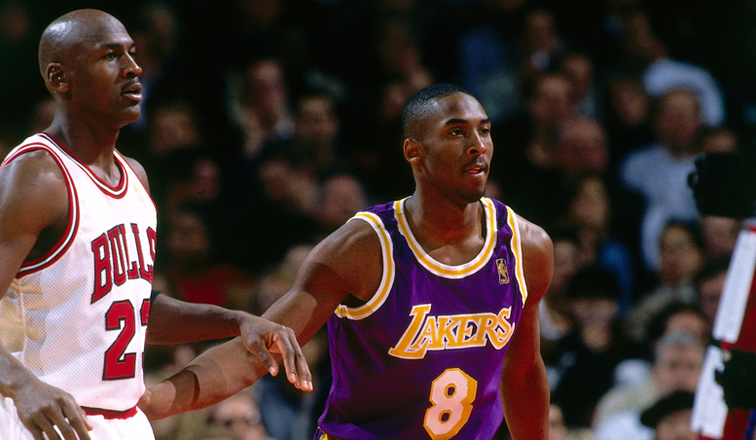 Michael Jordan and Kobe Bryant square off during a game on Dec. 17 1997.             Kobe Day First Duel Against Michael Jordan